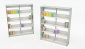 Ven-Rez Custom Library Shelving - Glass End Panels Countertop