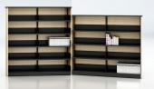 Single sided closed shelving, Ven-Rez