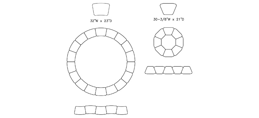 Horizon Shaped Desk Tops Layout (Classroom)
